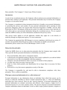 GDPR Privacy Notice for Job Applicants