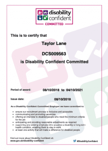 Disability Confident Committed certificate
