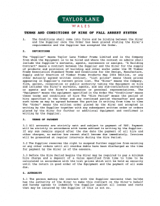 Fall Arrest Terms and Conditions of Hire (TLW)